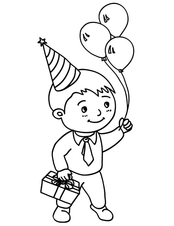 Birthday Boy, : Birthday Boy Holding Three Balloons and Present Coloring Pages