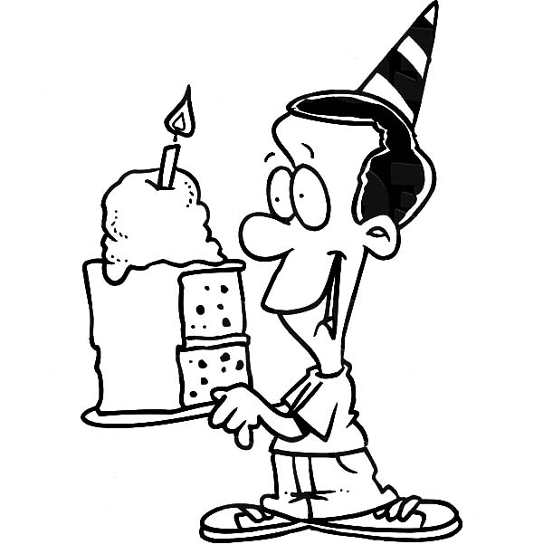 Birthday Boy, : Birthday Boy Holding a Slice of Cake Coloring Pages