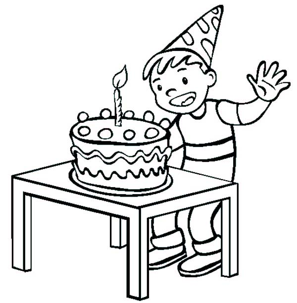 Birthday Boy, : Birthday Boy Ready to Blow the Candle Coloring Pages