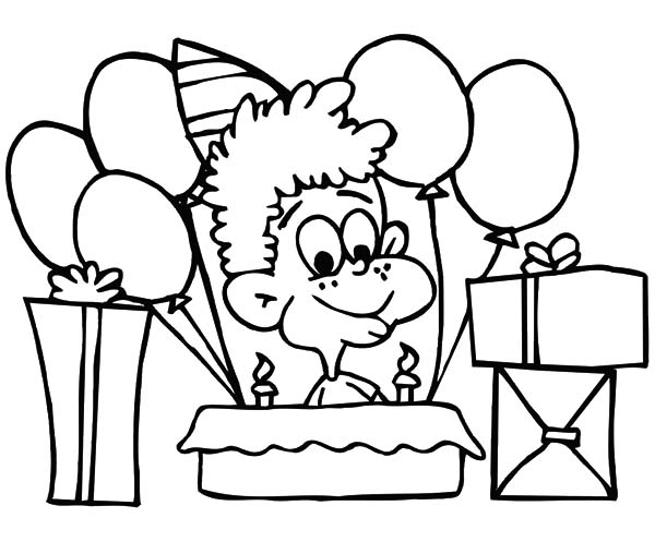 Birthday Boy, : Birthday Boy Sitting in Front of His Birthday Cake Coloring Pages