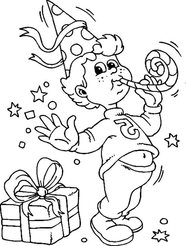 Birthday boy celebrating his birthday coloring pages for Birthday boy coloring pages