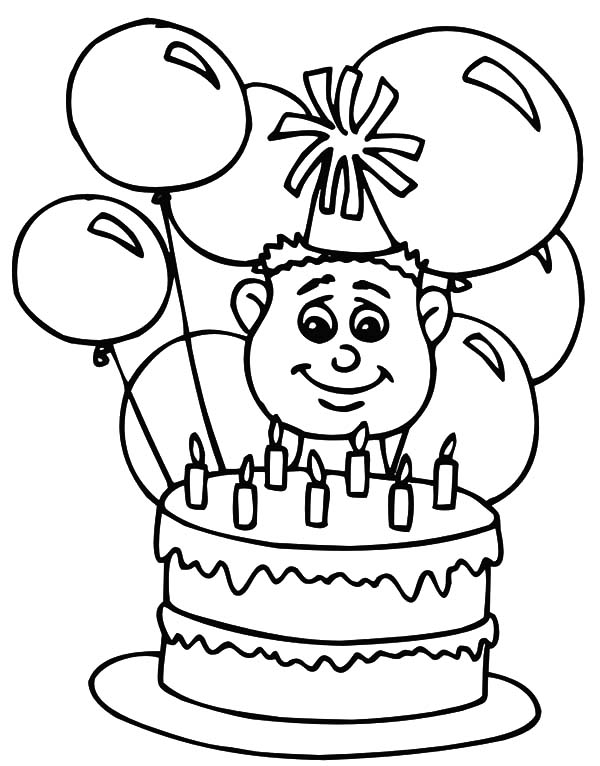 Birthday Balloons, : Birthday Cake and Balloons Coloring Pages