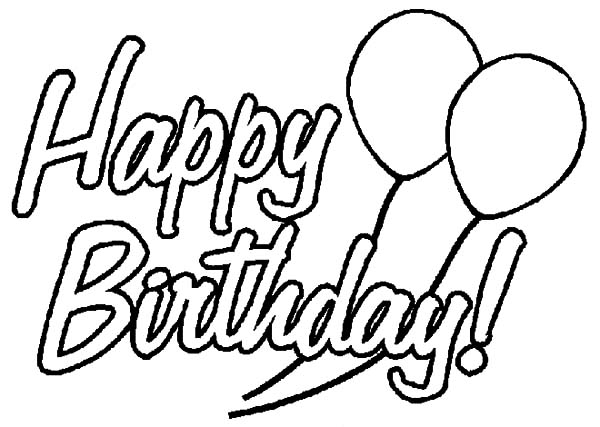 Birthday Balloons, : Birthday Party Decorated with Balloons Coloring Pages