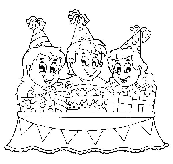 Birthday Boy, : Birthday and Friends Around a Cake Coloring Pages