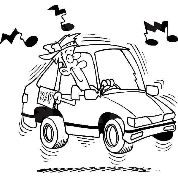 Car Driving, : Boy Blaring Rap Music While Driving His Car Coloring Pages