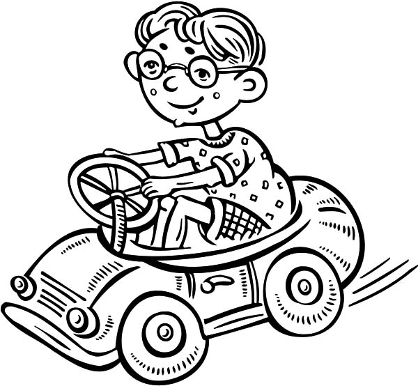 Boy with Glassess Driving a Toy Car Coloring Pages | Best Place to Color