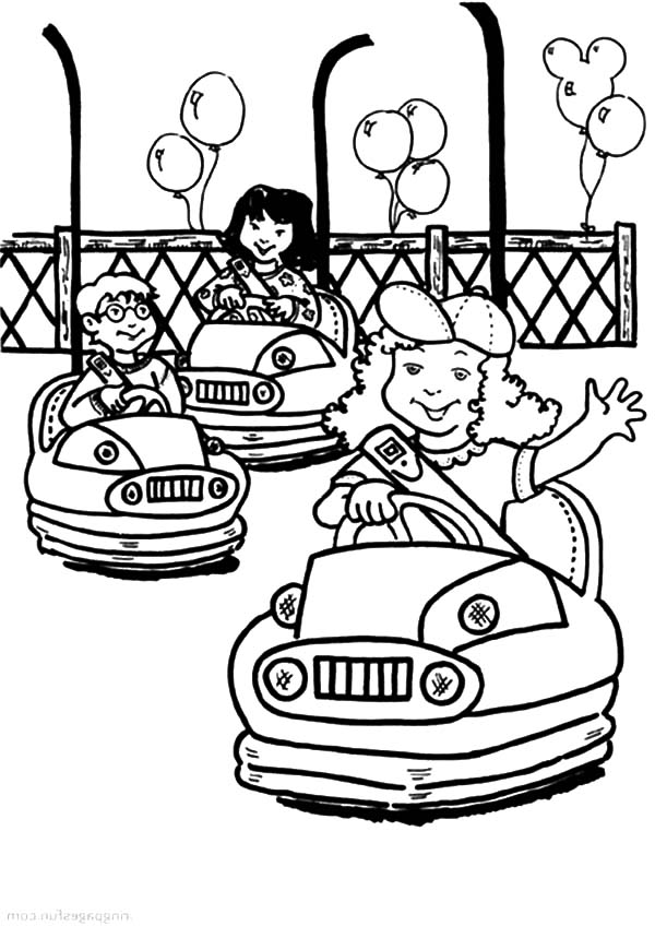 Carnival, : Bumper Cars at Carnival Coloring Pages