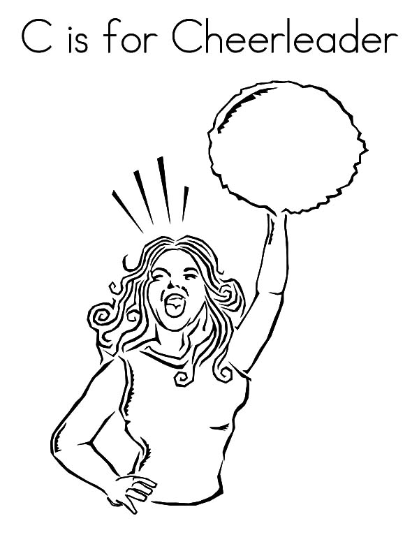 Cheerleader, : C is for Cheerleader Coloring Pages