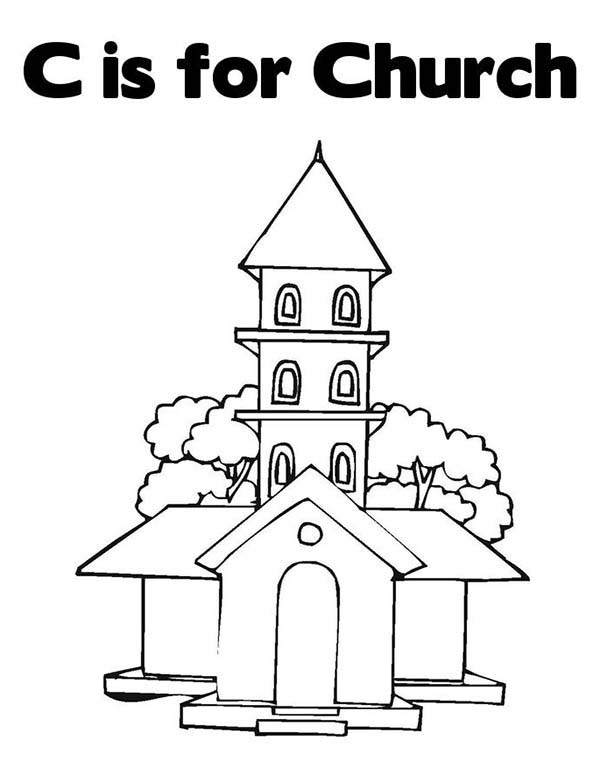 Church, : C is for Church Coloring Pages