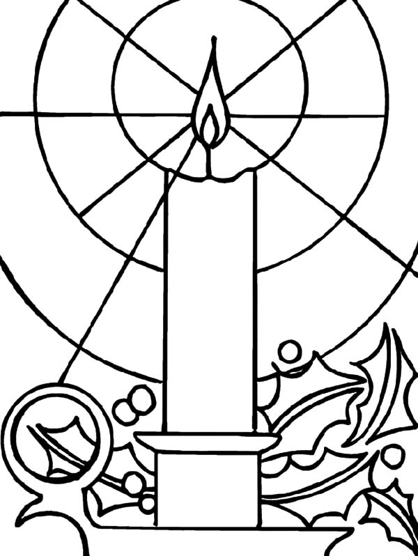 Candle, : Candle Light Shining Bright Coloring Pages