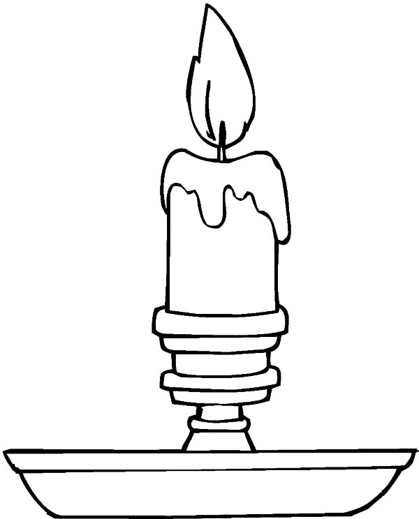 Candle, : Candle Light in Night Coloring Pages