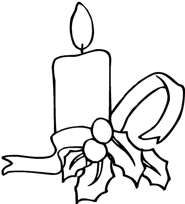 Candle, : Candle Tied with Ribbon Coloring Pages