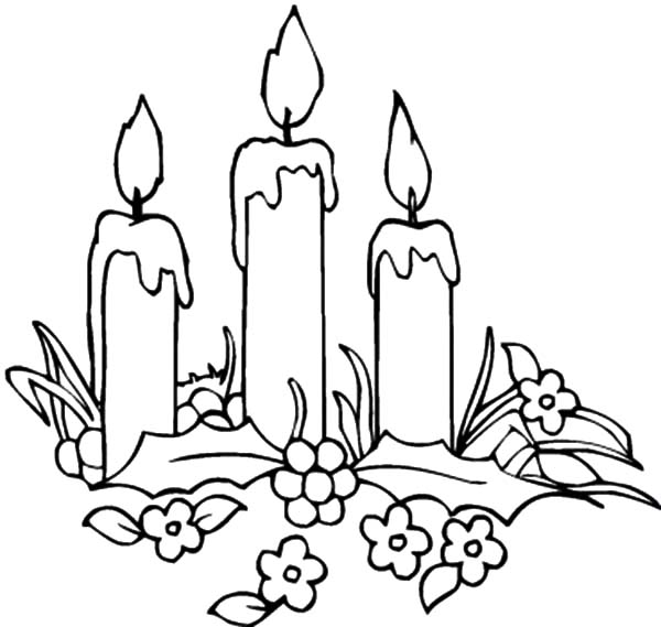 Candle, : Candle and Flowers Coloring Pages
