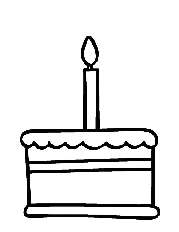 Candle, : Candle on Cake Coloring Pages