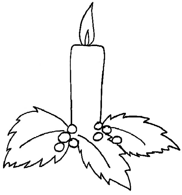 Candle, : Candle on Leaves Coloring Pages