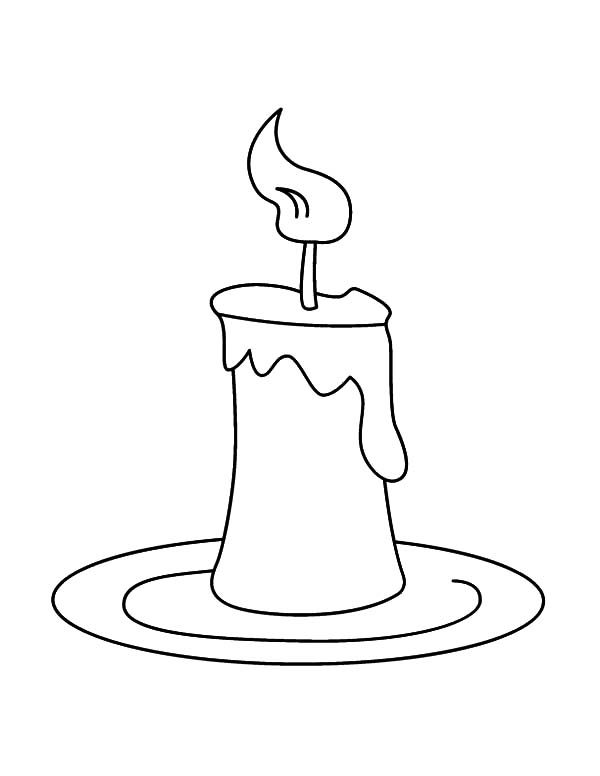 Candle, : Candle on Plate Coloring Pages