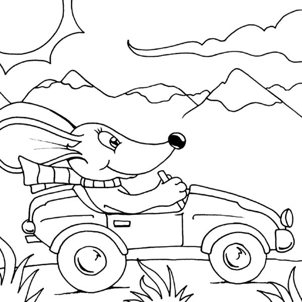 Car Driving, : Car Driving on Vacation Coloring Pages
