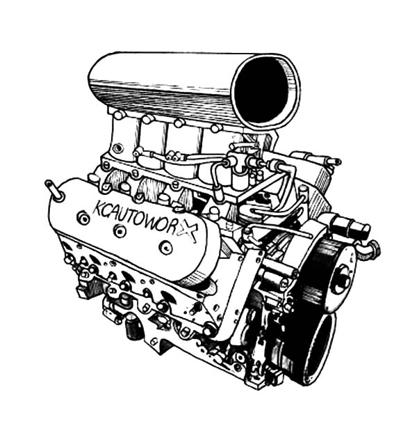 Car Parts, : Car Engine Blower Parts Coloring Pages