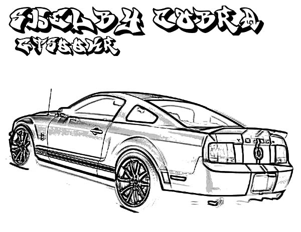 Car Mustang, : Car Ford Mustang Shelby GT 500 2008 Coloring Pages