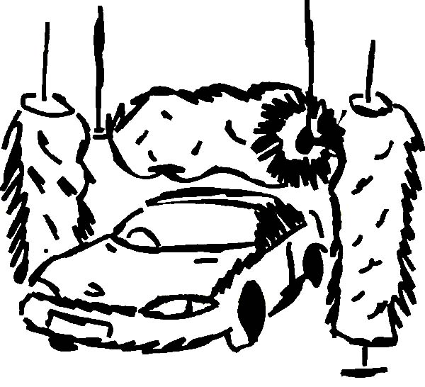 Car Wash, : Car Going Through the Wash Coloring Pages