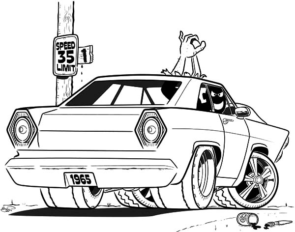 Car Mustang, : Car Mustang Ford 1965 Coloring Pages