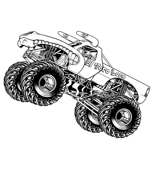 Car Tire, : Car Tire Monster Truck Coloring-Page