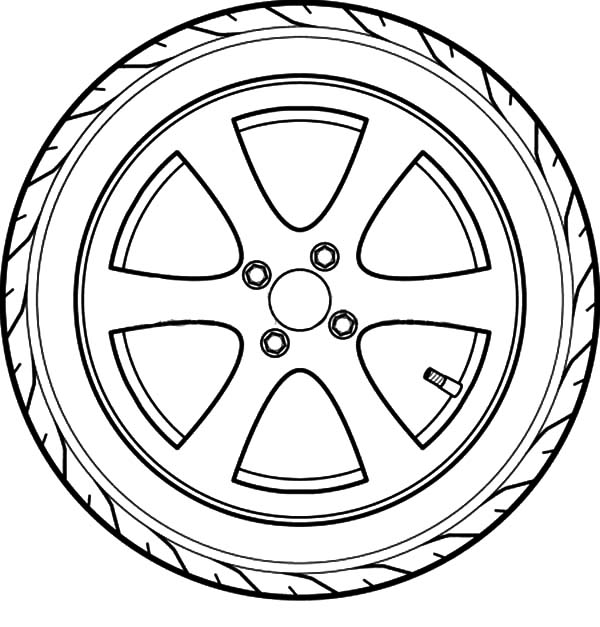 Car Tire, : Car Tire Outline Coloring Pages