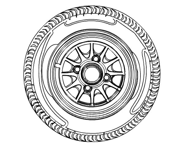 Car Tire, : Car Tire Rim Coloring Pages