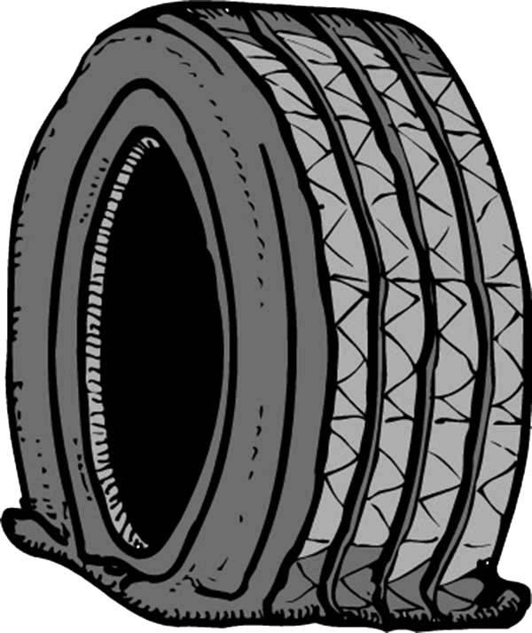 Car Tire, : Car Tire is Flat Coloring Pages