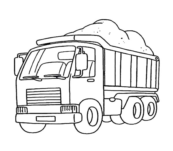Car Transporter, : Car Transporter Carry Mountain of Sands Coloring Pages
