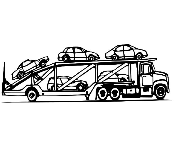Car Transporter, : Car Transporter Cars Carrier Coloring Pages