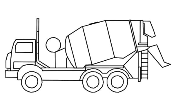 Car Transporter, : Car Transporter Cement Truck Outline Coloring Pages