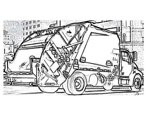 car transporter garbage truck coloring pages