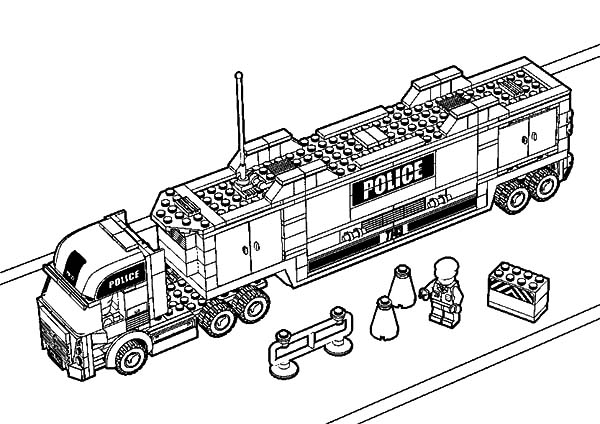 Car Transporter, : Car Transporter Lego Police Truck Coloring Pages