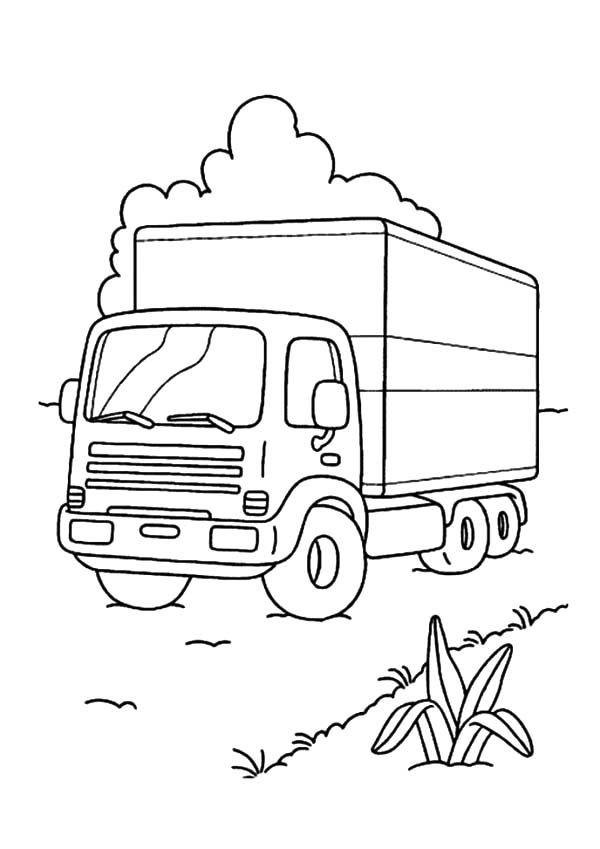 Car Transporter, : Car Transporter Park on Grass Coloring Pages
