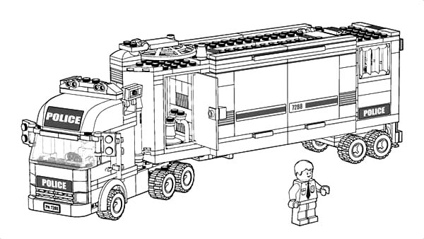 Car Transporter, : Car Transporter Police Truck Coloring Pages