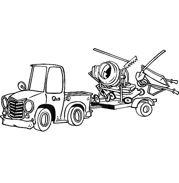 Car Transporter, : Car Transporter Pulling a Trailer with Landscape and Concrete Equipment Coloring Pages