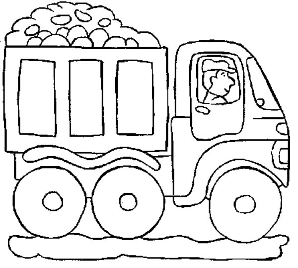 Car Transporter, : Car Transporter Truck Bring Rocks Coloring Pages