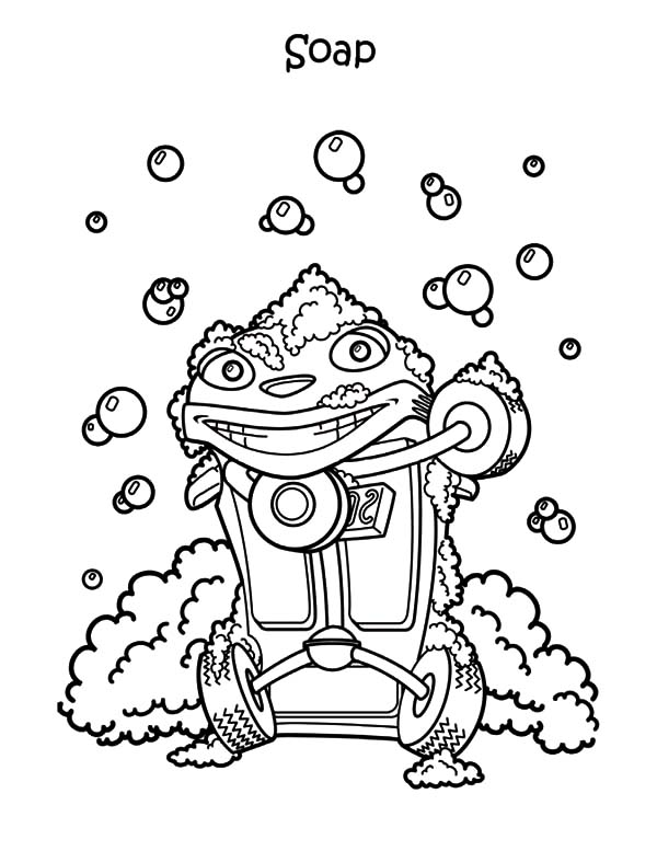 Car Wash, : Car Wash Using Soap Coloring Pages