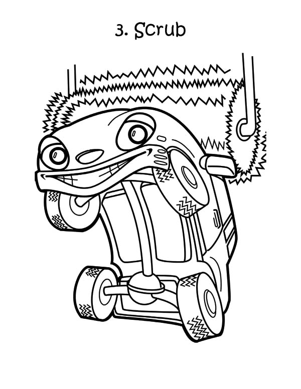 Car Wash, : Car Wash on Roller Coloring Pages