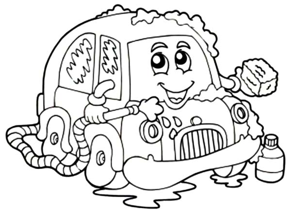 Car Wash, : Car Wash with Soap Coloring Pages