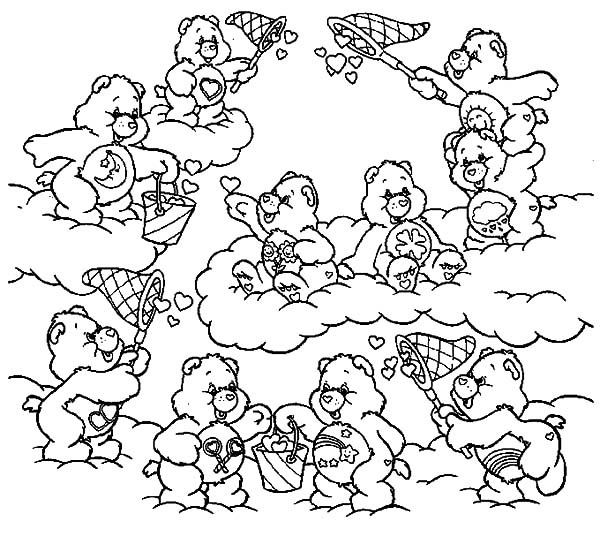 care bears catching heart shaped clouds coloring pages - Care Bear Coloring Pages