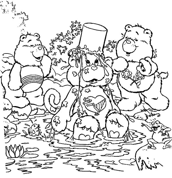 Care, : Care Bears Falling in the Pond with Bucket on His Head Coloring Pages