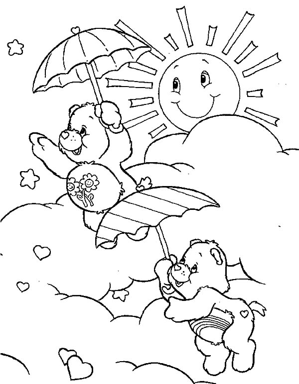 Care, : Care Bears Flying with Umbrella Coloring Pages