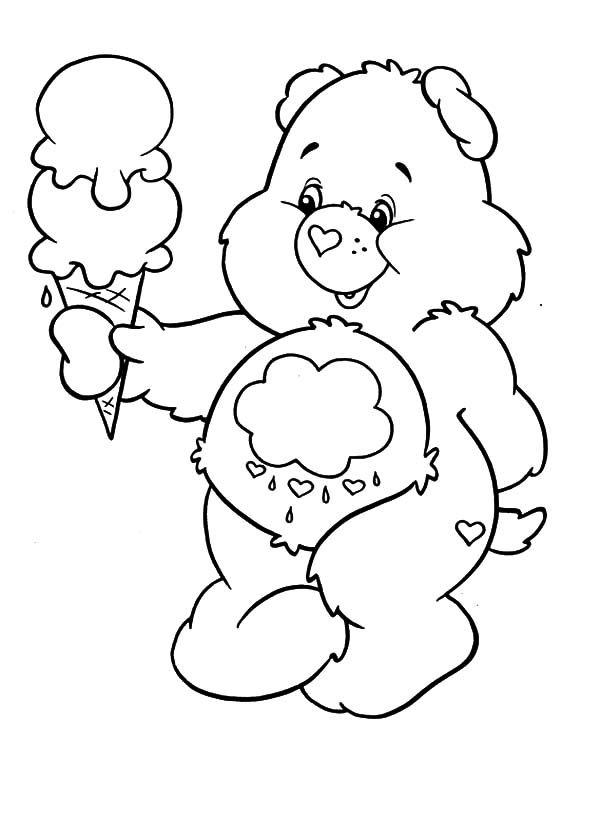 Care, : Care Bears Melting Ice Cream Coloring Pages