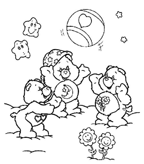 Care, : Care Bears Playing Ball Coloring Pages
