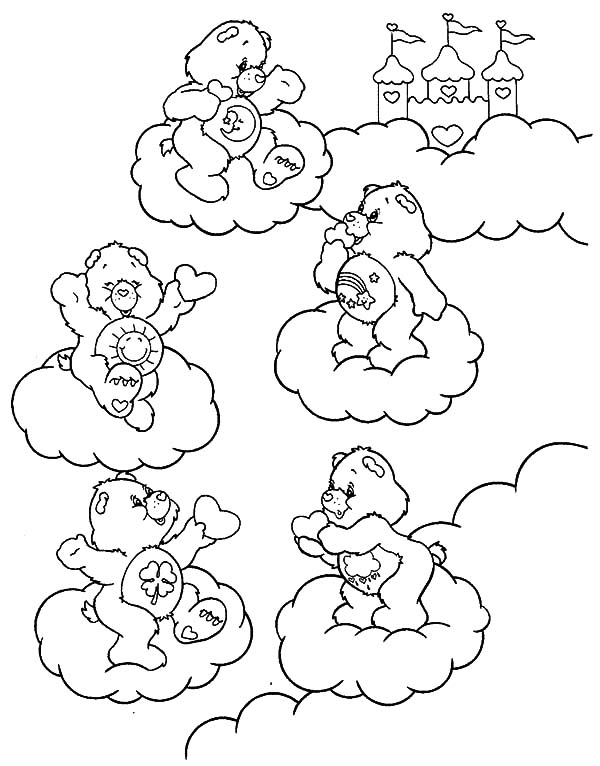 Care, : Care Bears Playing on the Clouds Coloring Pages