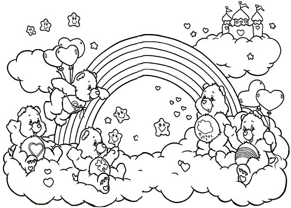 Care bears playing with friends at rainbow coloring pages for Care bears coloring pages