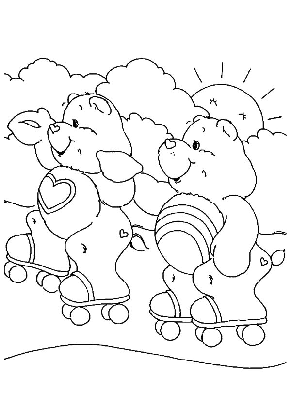 Care, : Care Bears Rollerskating with Friend Coloring Pages