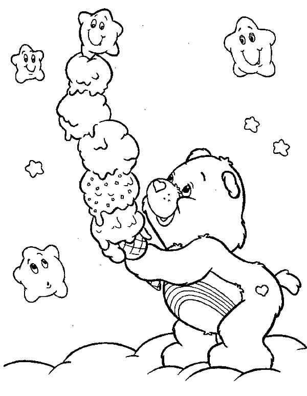 Care, : Care Bears Stack of Ice Cream Coloring Pages